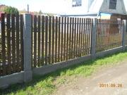 Забор с бетонными евростолбами кубик с имитацией фундамента минск