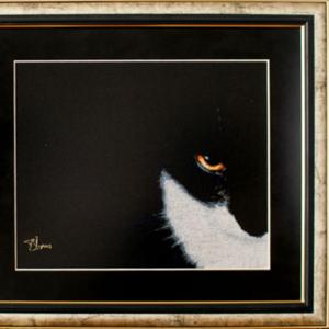 Картина  «Смоляной красавец», ручная работа,  вышивка.