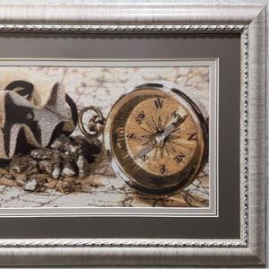Картина «В поисках золота»,  ручная работа,  вышивка.