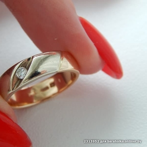 Кольцо с бриллиантом р-р 16