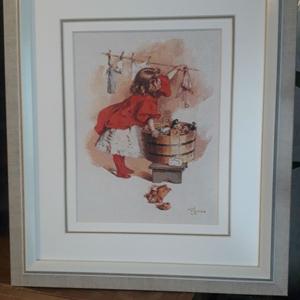 Картина «Маленькая хозяйка», ручная работа,  вышивка.