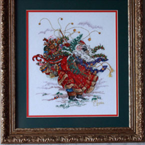 Картина «На ветру»,   ручная работа,  вышивка.